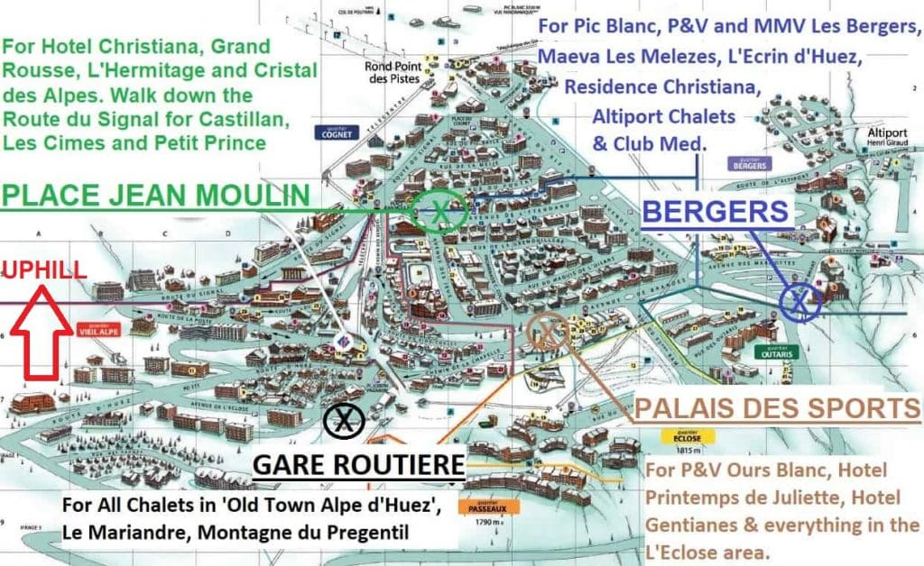 Map of Ben's Bus Stops Alpe d'Huez