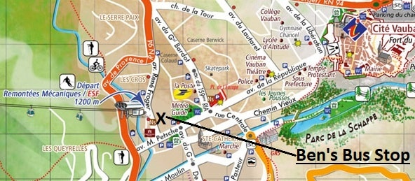 Briancon Airport Shuttle Bus Stop Map