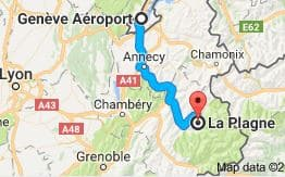 Geneva Airport to La Plagne Directions