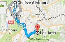 Geneva Airport to Les Arcs Directions