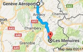 Geneva Airport to Les Menuires Directions