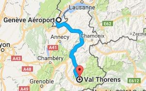 Geneva Airport to Val Thorens Directions