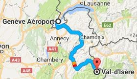 Geneva Airport to Val d'Isere Directions