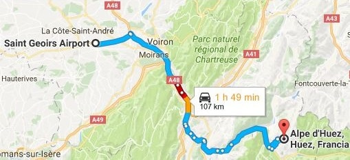 Grenoble Airport to Alpe d'Huez Directions