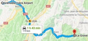 Grenoble Airport to La Grave Directions