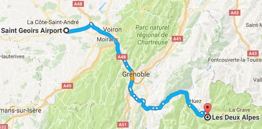Grenoble Airport to Les Deux Alpes Directions