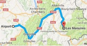 Grenoble Airport to Les Menuires Directions