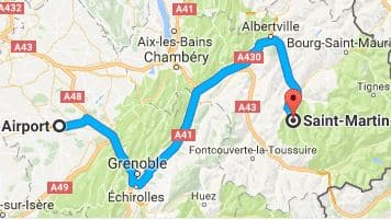 Grenoble Airport to Saint Martin de Belleville Directions