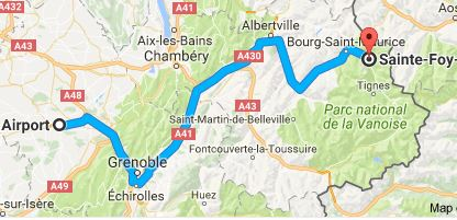 Grenoble Airport to Sainte Foy Directions