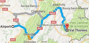 Grenoble Airport to Val Thorens Directions