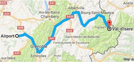 Grenoble Airport to Val d'Isere Directions