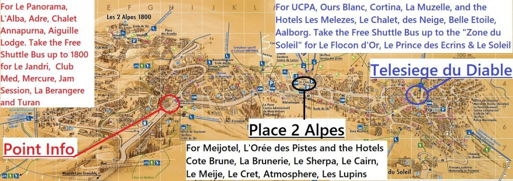 Map of Ben's Bus Stops in Les Deux Alpes