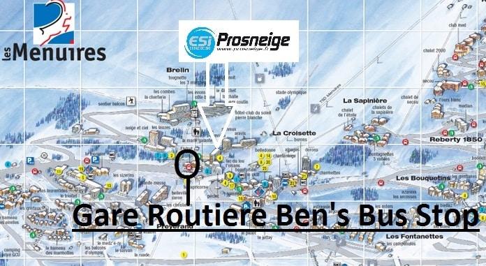 Map Les Menuires Gare Routiere Ski Transfers Stop