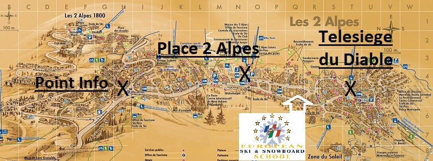 Map of Bus Stops in Les Deux Alpes