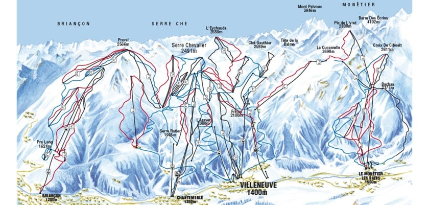 Serre Chevalier Valley Map of Resorts