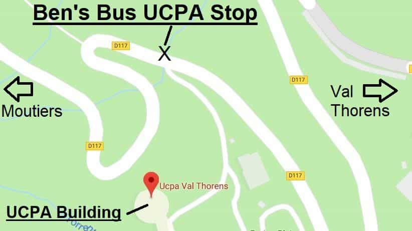 Transfers to Val Thorens UCPA Bus Stop Map