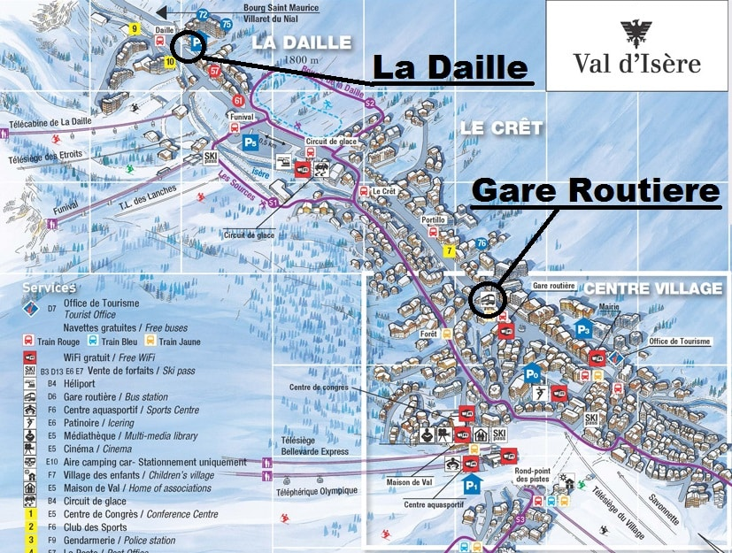 Val d'Isere Airport Transfer Bus Stop Map