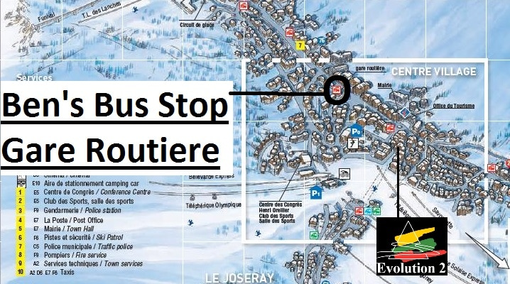 Map Val d'Isere Gare Routiere Ski Bus Stop
