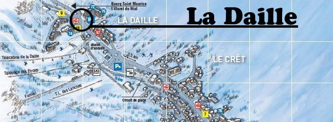 Map Val d'Isere La Daille Ski Transfers Stop