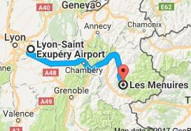 Lyon Airport to Les Menuires Directions