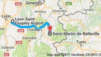 Lyon Airport to Saint Martin de Belleville Directions