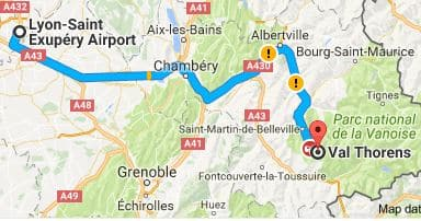 Lyon Airport to Val Thorens Directions