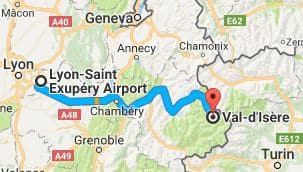 Lyon to Val d'Isere Directions