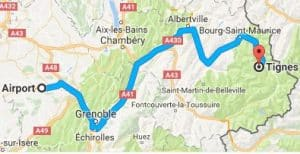 Grenoble Airport to Tignes Directions