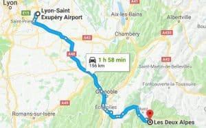 Lyon Airport to Les Deux Alpes Directions