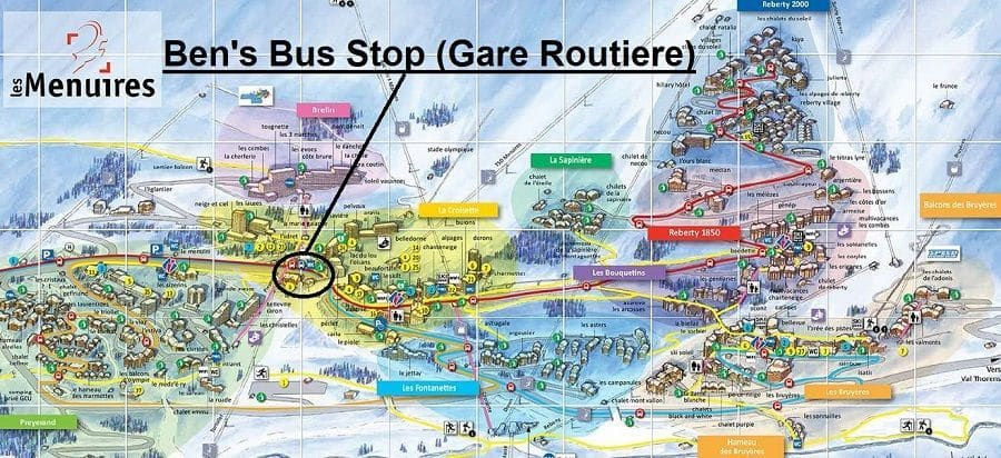Transfers to Les Menuires Bus Stop Map
