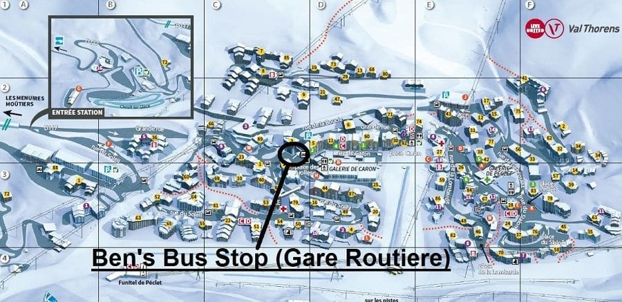 Map of Ben's Bus Stops in Val Thorens