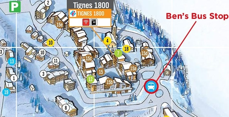 Tignes 1800 Airport Transfer Bus Stop